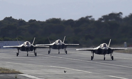 F-35B aircraft pass on a runway after landing at the Akrotiri Royal air forces base near city of Limassol, Cyprus, Tuesday, May 21, 2019.