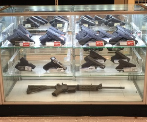Guns are shown for sale at a shop in Monroe, Louisiana in 2017.