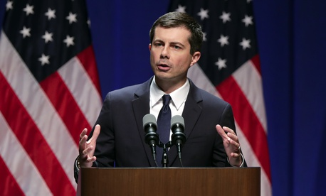 Democratic presidential candidate Mayor Pete Buttigieg delivers remarks on foreign policy and national security during a speech at the Indiana University Auditorium in Bloomington, Ind., Tuesday, June 11, 2019.