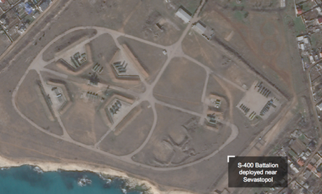 This satellite photo from Planet Labs shows a Russian S-400 air-defense installation near Sevastopol, Crimea.