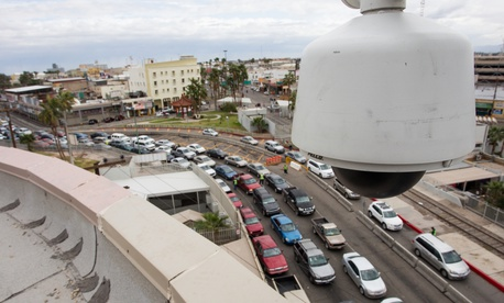 A 2012 photo of a surveillance camera that looks at the traffic coming into the Calexico Port of Entry.