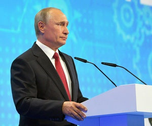 Putin speaks at a meeting with students in Yaroslavl, Russia, Friday, Sept. 1, 2017.
