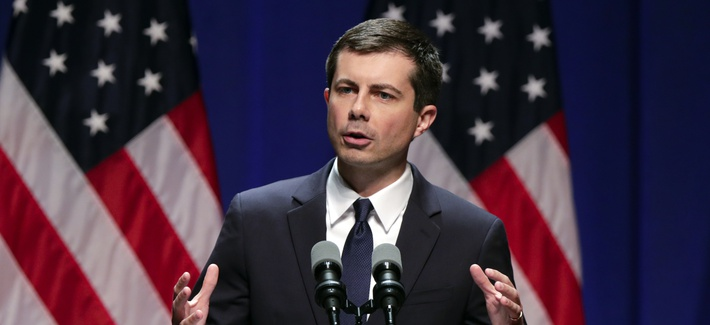 Democratic presidential candidate Mayor Pete Buttigieg speaks at the Indiana University Auditorium in Bloomington, Ind., Tuesday, June 11, 2019.
