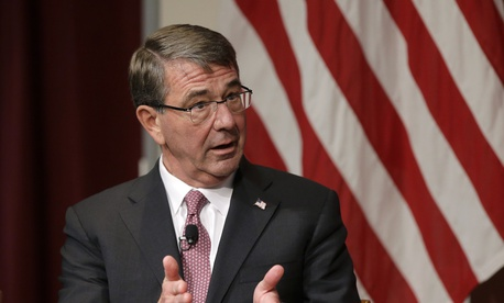 Harvard professor Ash Carter, former U.S. secretary of defense, addresses an audience, Monday, Oct. 16, 2017