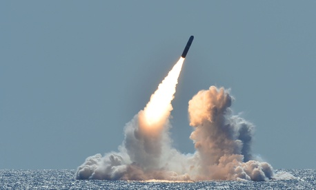 An unarmed Trident II D5 missile launches from the Ohio-class ballistic missile submarine USS Nebraska (SSBN 739) off the coast of California, March 26, 2008.
