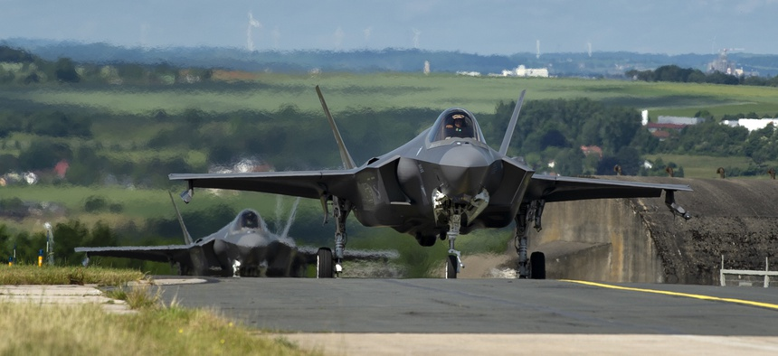 U.S. Air Force F-35A Lightning II fighter aircraft, assigned to the 421st Fighter Squadron, Hill Air Force Base, Utah, taxi on the flightline at Spangdahlem Air Base, Germany, June 11, 2019.