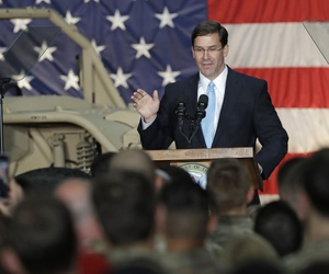 Army Secretary Mark Esper, who will become acting secretary of defense on June 23, speaks to soldiers and family members in Ft. Bragg, N.C., Monday, April 15, 2019.