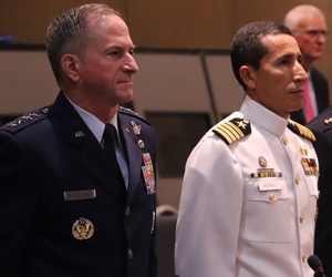 Gen. Dave Goldfein, the U.S. Air Force chief of staff and Col. Manuel Calderon, the El Salvador air chief at the Conference of the American Air Chiefs.