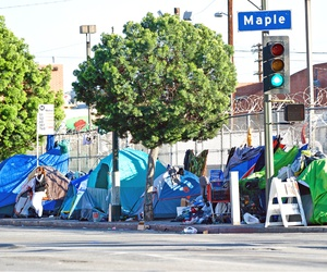 A homeless encampment in Los Angeles.
