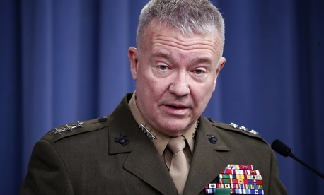 "In this April 14, 2018, file photo, then-Marine Lt. Gen. Kenneth ""Frank"" McKenzie speaks during a media availability at the Pentagon in Washington."