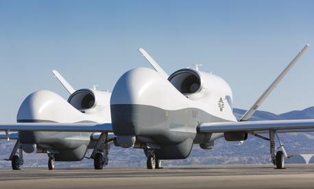Two MQ-4C Triton Unmanned Air System vehicles at Northrop Grumman.