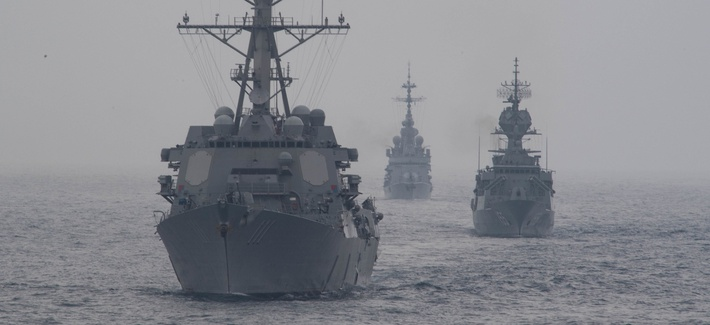 From left, the U.S. Navy destroyer USS Spruance, the Royal Australian Navy frigate HMAS Ballarat , and the French Navy destroyer FS Cassard (D 614) during anti-submarine warfare exercise SHAREM 195 in the Arabian Sea, Dec. 14, 2018.