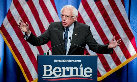 Democratic presidential candidate Sen. Bernie Sanders, I-Vt., speaks at George Washington University in Washington, Wednesday, June 12, 2019.
