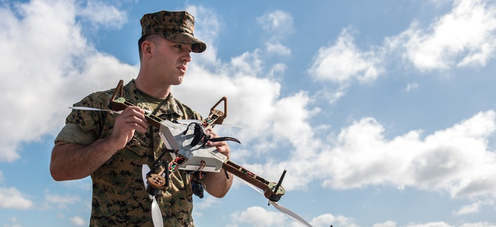 Lance Cpl. Nicholas Hettinga, 2nd Tank Battalion, 2nd Marine Division, prepares to pilot a 3-D printed unmanned aircraft system, or drone, during a Sept. 27, 2017, test flight at Camp Lejeune, North Carolina.