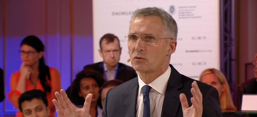 NATO Secretary General Jens Stoltenberg speaks at the 2019 Brussels Forum.