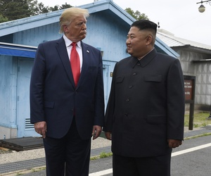 President Donald Trump meets with North Korean leader Kim Jong Un at the border village of Panmunjom in Demilitarized Zone, South Korea.