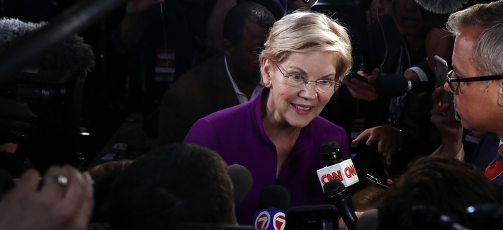 Democratic presidential candidate Sen. Elizabeth Warren, D-Mass., answers questions after a Democratic primary debate on June 26.