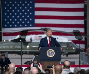 President Donald J. Trump addresses military personnel and their families Sunday, June 30, 2019, at Osan Air Base, Korea.