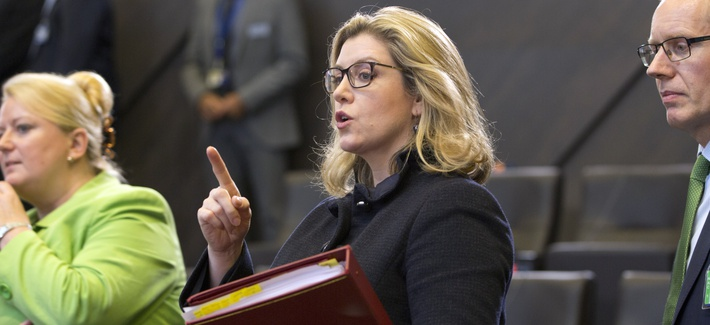 British Defense Secretary Penny Mordaunt attends a meeting of NATO defense ministers at NATO headquarters in Brussels, Wednesday, June 26, 2019.