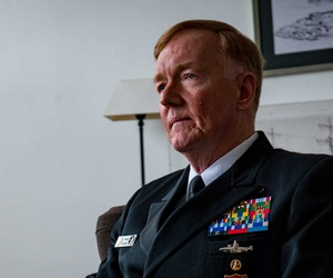 Adm. James G. Foggo III, commander, U.S. Naval Forces Europe-Africa and commander, Allied Joint Force Command Naples, Italy, speaks with Norwegian media in Bergen, Norway, April 10, 2019.
