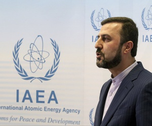 Iran's Ambassador to the International Atomic Energy Agency, IAEA, Gharib Abadi speaks to the media after the IAEA board of governors meeting at the International Center in Vienna, Austria, Wednesday, July 10, 2019.