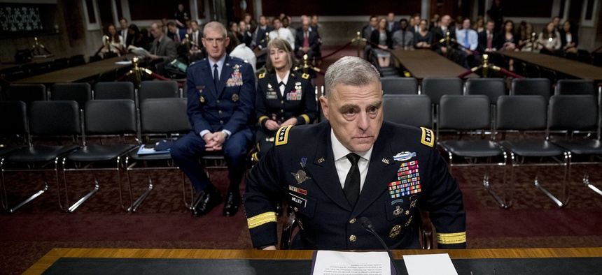Gen. Mark Milley appears before a Senate Armed Services Committee hearing on Capitol Hill in Washington, Thursday, July 11, 2019, for reappointment to the grade of general and to be Joint Chiefs of Staff Chairman.