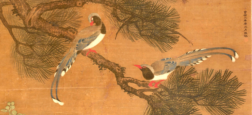 """""""Magpies in a Pine Tree, Ducks and Hollyhocks"""" Ming or Qing dynasty, 17th-19th century"""