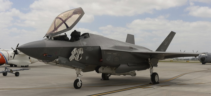 The Lockheed Martin F-35 Lightning II sits on the tarmac during media day for the National Salute To America's Heroes Air & Sea Show at Opa locka Executive Airport on May 24, 2019 in Miami, Florida.