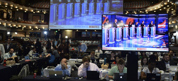 Atmosphere in the spin room following the 2020 Democratic Party presidential debates held at The Adrienne Arsht Center on June 27, 2019 in Miami Florida.