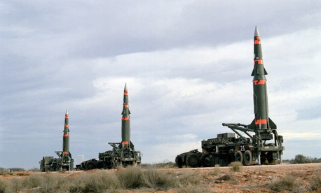 Several Pershing II missiles are prepared for launching at Fort Bliss McGregor Range in 1987.