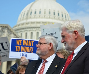 Union leaders attend a rally at the Capitol protesting the shutdown in 2013.