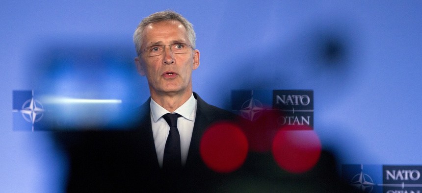 NATO Secretary General Jens Stoltenberg speaks during a media conference at NATO headquarters in Brussels, Friday, July 5, 2019.