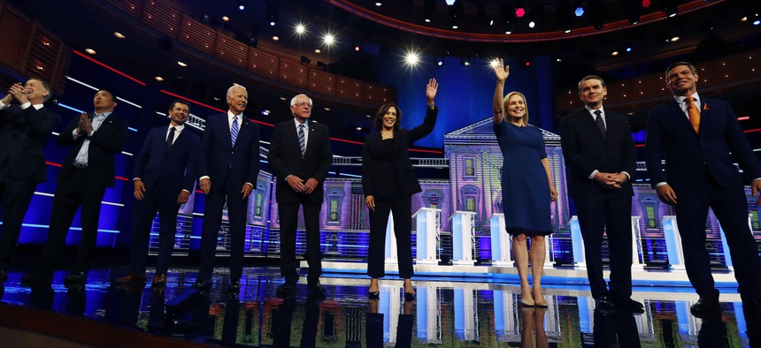 This June 27, 2019, file photo shows Democratic presidential candidates on the second night of the Democratic primary debate.