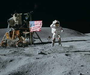 Apollo 16's John W. Young, mission commander, and Charles M. Duke Jr., lunar module pilot is shown on the moon in 1972.
