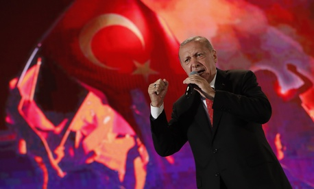 Turkey's President Recep Tayyip Erdogan delivers a speech at a rally to honour the victims of the July 15, 2016 failed coup attempt, in Istanbul, Monday, July 15, 2019.