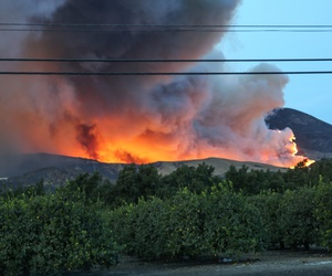 A wildfire rages in Ventura county, California.
