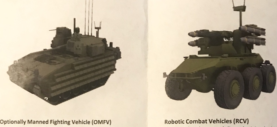 An illustration from a U.S. Army document showing a robotic combat vehicle.