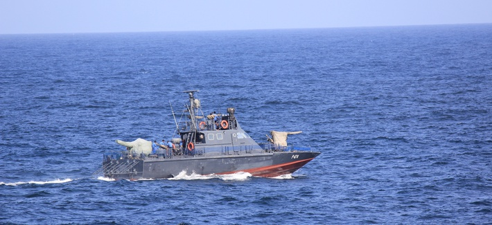 A patrol boat of the Sri Lankan navy patrols in the port of Colombo, Sri Lanka, in 2011.