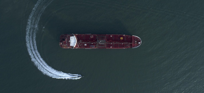 On July 21, 2019, a speedboat of Iran's Revolutionary Guard moving around the British-flagged oil tanker Stena Impero which was seized in the Strait of Hormuz on Friday by the Guard, in the Iranian port of Bandar Abbas.