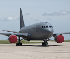 A fourth KC-46 Pegasus lands on the flight line, May 18, 2019, at Altus Air Force Base, Okla.