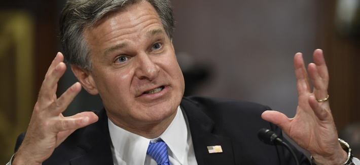 FBI Director Christopher Wray testifies before the Senate Judiciary Committee on Capitol Hill in Washington, Tuesday, July 23, 2019.FBI Director Christopher Wray testifies before the Senate Judiciary Committee on Capitol Hill in Washington, Tuesday, July