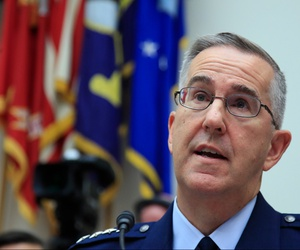 U.S. Strategic Command Commander Gen. John Hyten, testifies before a House committee on Capitol Hill in Washington, Friday, June 22, 2018.