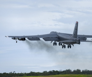 A U.S. Air Force B-52H Stratofortress bomber takes off from Andersen Air Force Base, Guam, for a routine training mission in the vicinity of the South China Sea and Indian Ocean, Sept 23, 2018.