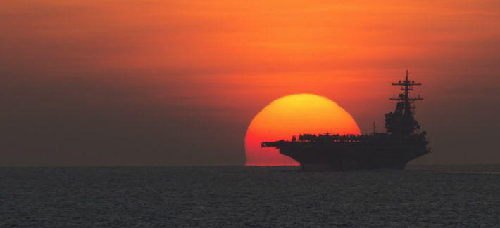 The aircraft carrier USS George H.W. Bush (CVN 77) transits the Gulf of Aden.