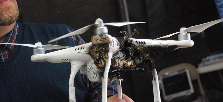A drone damaged by a laser during a 2017 test by U.S. Army's Space and Missile Defense Command and Army Forces Strategic Command Technical Center.