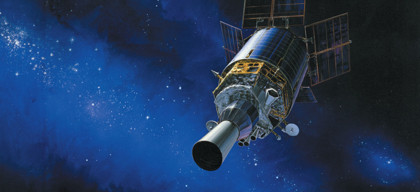 Artist's rendering of a Defense Support Program (DSP) satellite in orbit.
