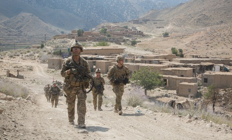 U.S. paratroopers, assigned to 2nd Battalion, 501st Parachute Infantry Regiment, 1st Brigade Combat Team, 82nd Airborne Division, conduct a tactical ground movement through Pekha Valley, Achin District, Nangahar Province, Afghanistan, Sept. 3, 2017.