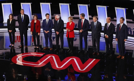 Candidates take the stage for the first of two Democratic presidential primary debates hosted by CNN Tuesday, July 30, 2019, in the Fox Theatre in Detroit.