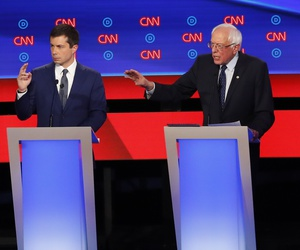 South Bend Mayor Pete Buttigieg, Sen. Bernie Sanders, I-Vt., and Sen. Elizabeth Warren, D-Mass., participate in the first of two Democratic presidential primary debates hosted by CNN Tuesday, July 30, 2019, in the Fox Theatre in Detroit.