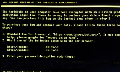 A screen shot of a computer infected with the Goldeneye malware in 2016.